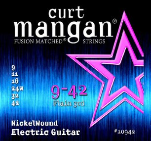 Curt Mangan Nickel Wound 10942 Electric Guitar Strings, Plain 3rd, 9-42