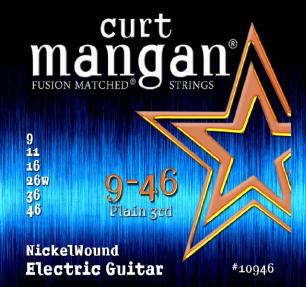 Curt Mangan Nickel Wound 10946 Electric Guitar Strings, Plain 3rd, 9-46