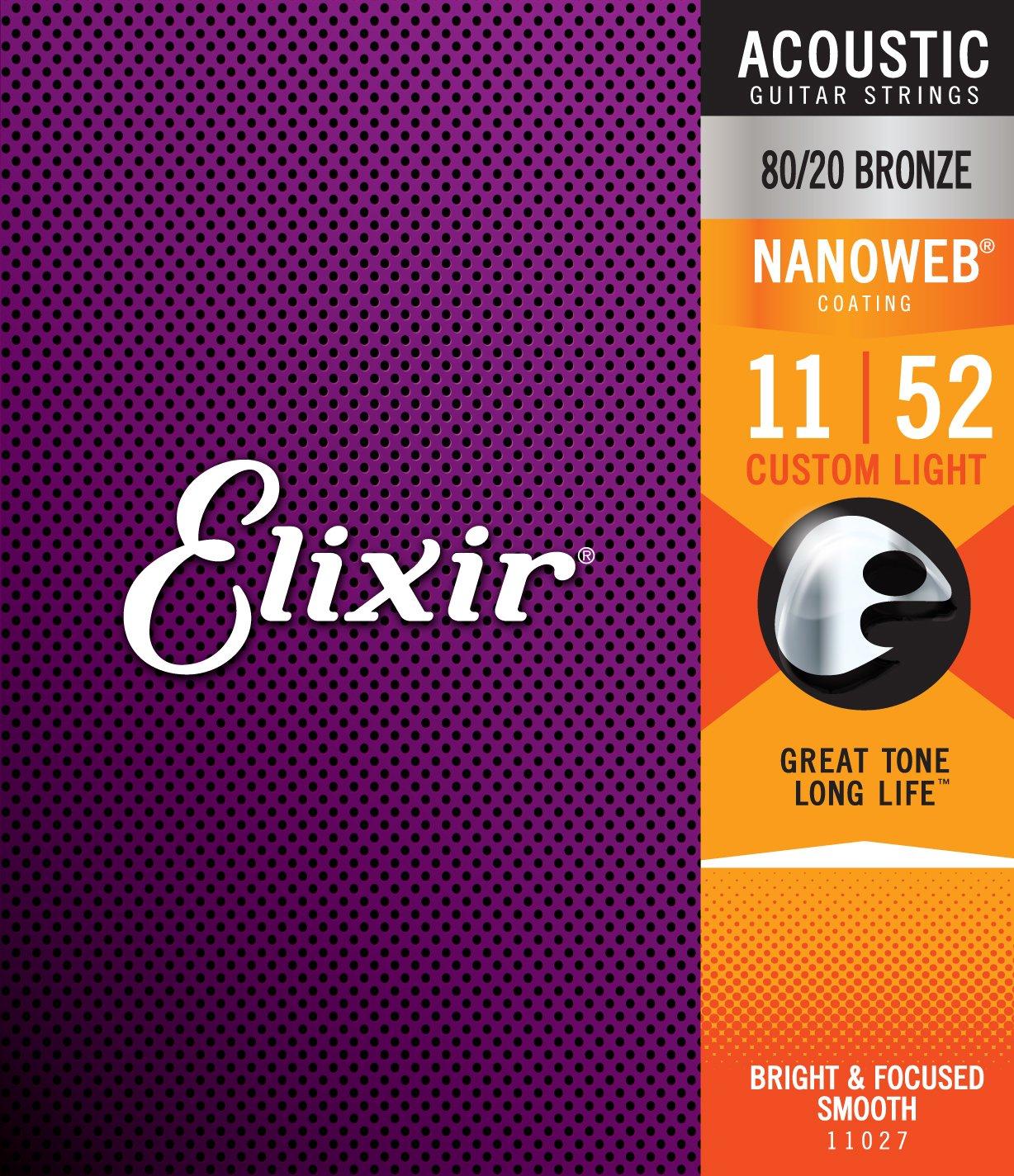 Elixir 80/20 Bronze 11027 Acoustic Guitar Strings, NANOWEB, Custom Light, 11-52