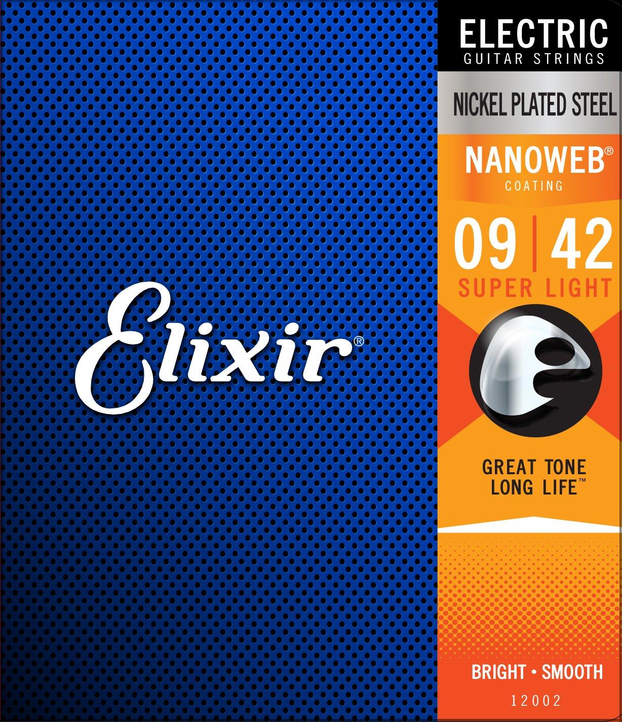 Elixir Nickel Plated Steel 12002 Electric Guitar Strings, NANOWEB, Super Light, 9-42
