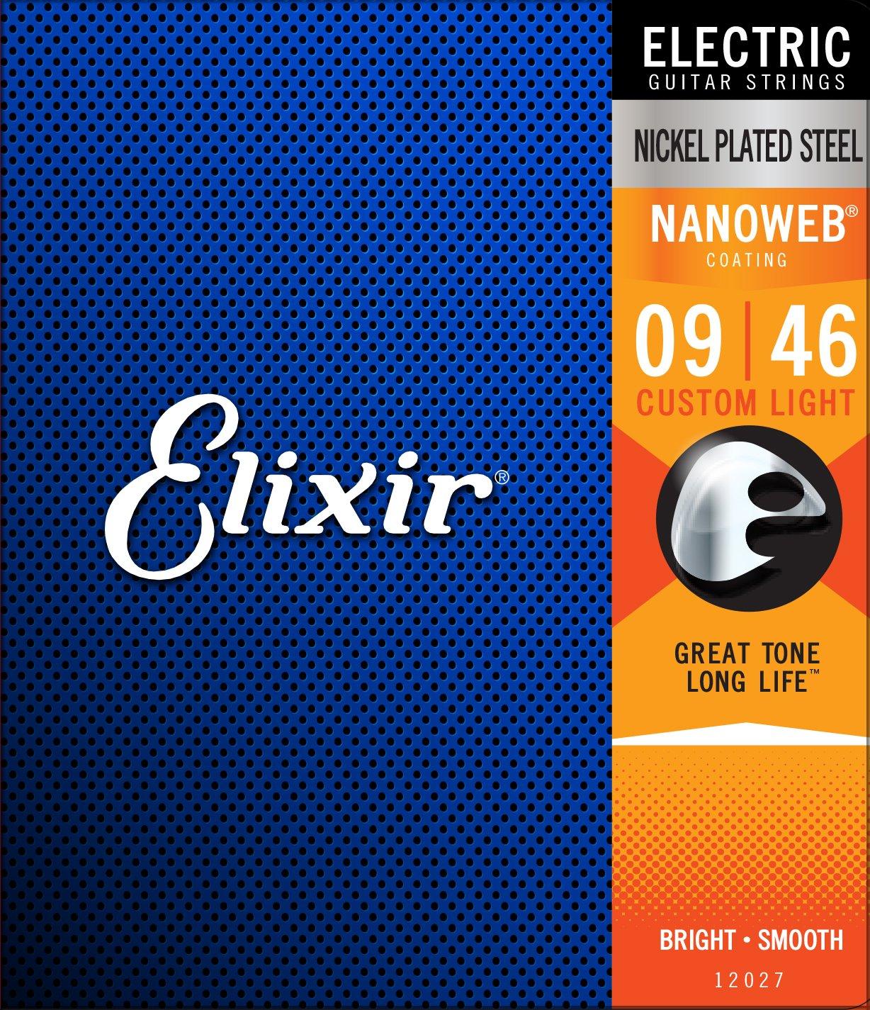 Elixir Nickel Plated Steel 12027 Electric Guitar Strings, NANOWEB, Custom Light, 9-46