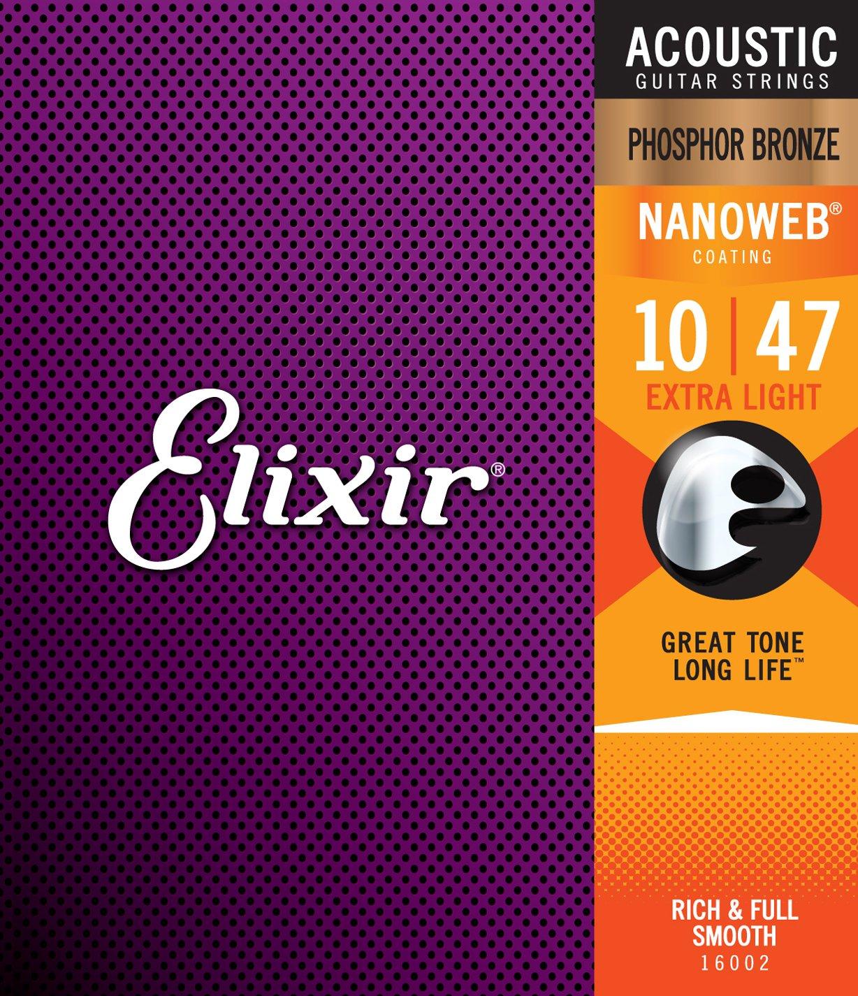 Elixir Phosphor Bronze 16002 Acoustic Guitar Strings, NANOWEB, Extra Light, 10-47