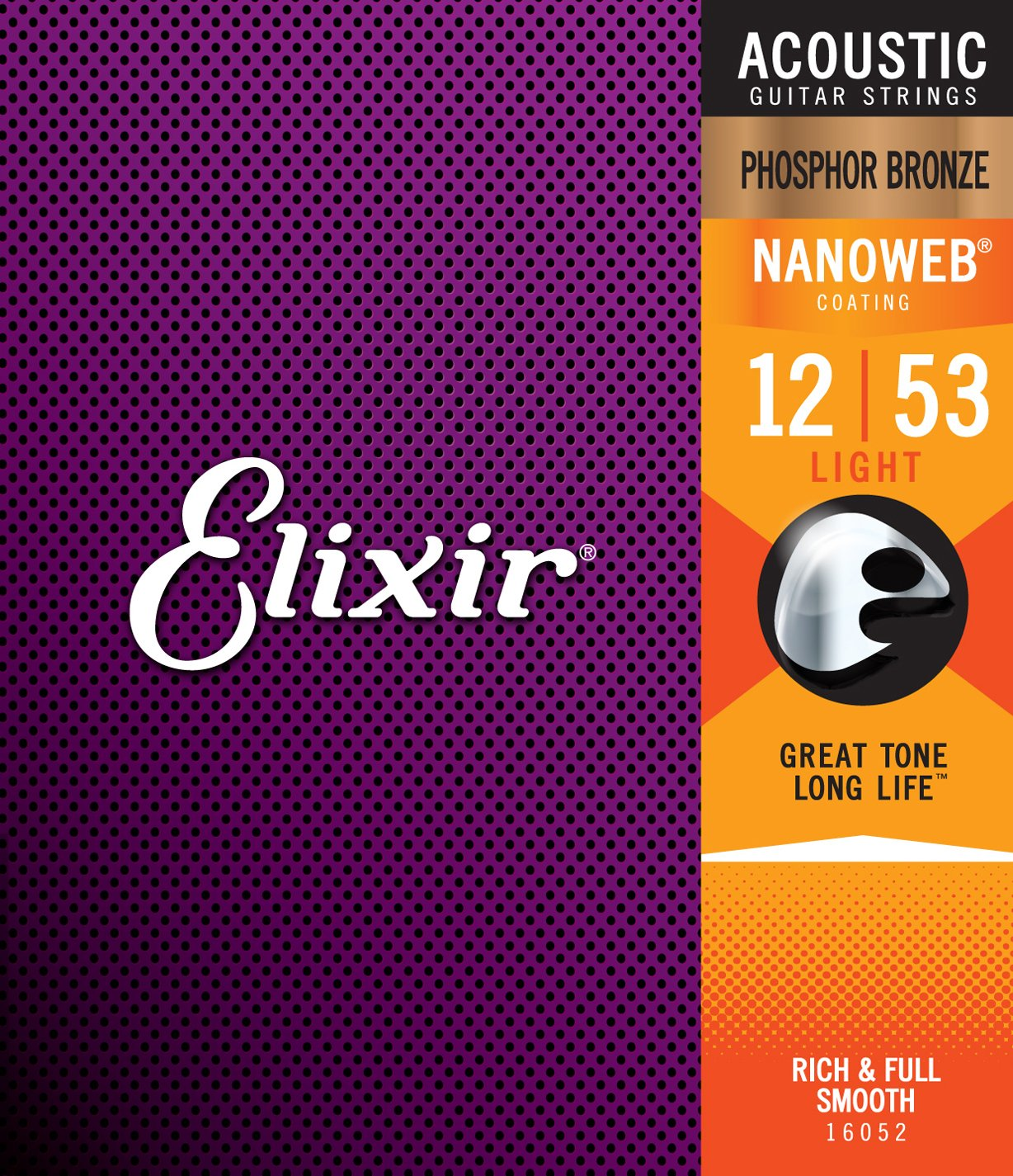 Elixir Phosphor Bronze 16052 Acoustic Guitar Strings, NANOWEB, Light, 12-53