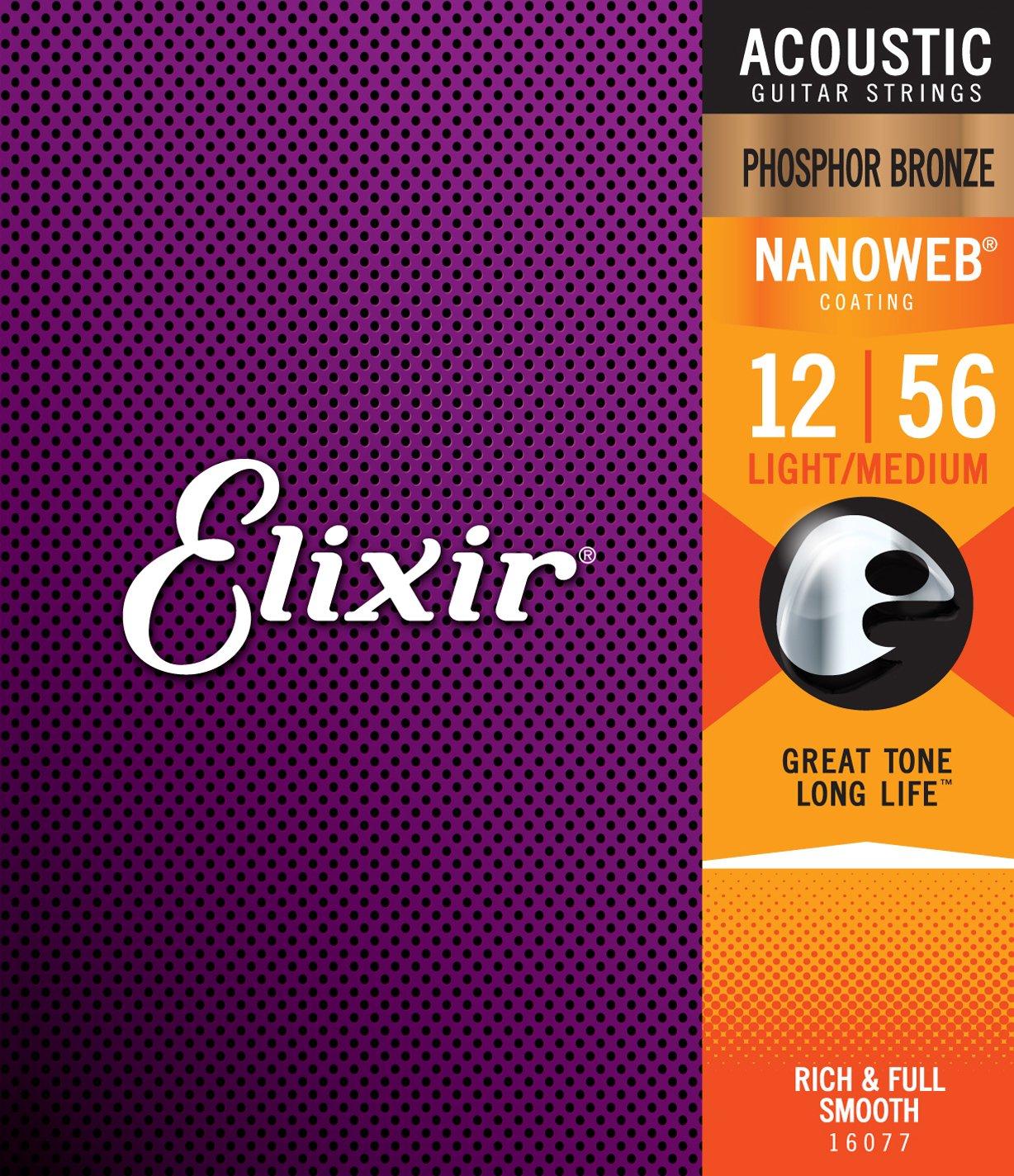 Elixir Phosphor Bronze 16077 Acoustic Guitar Strings, NANOWEB, Light Medium, 12-56