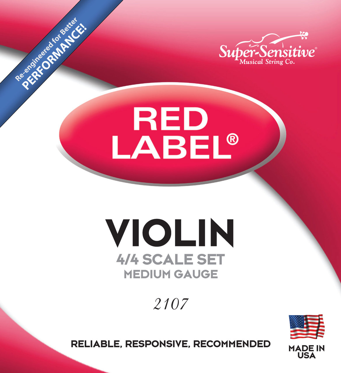 Super Sensitive Red Set 2107 Violin Strings, 4/4 Size