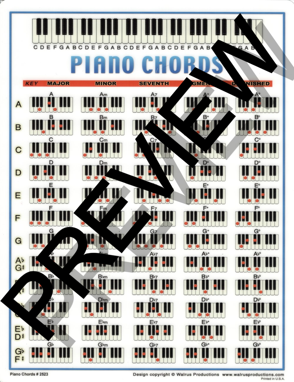 Walrus Productions 2523 Laminated Piano Chord Mini Chart, 8.5 x 11