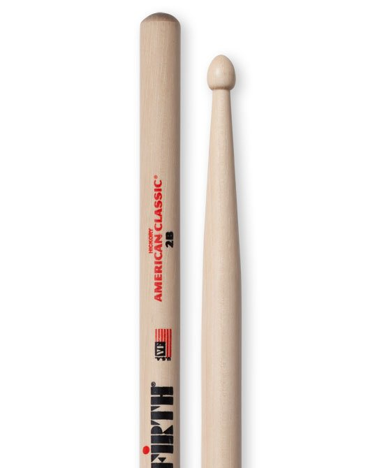 Vic Firth American Classic 2B Drumsticks, Hickory, Wood Tip