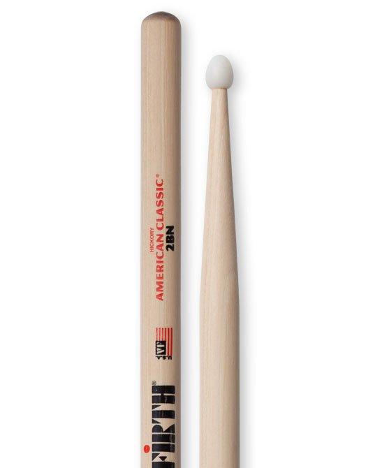 Vic Firth American Classic 2BN Drumsticks, Hickory, Nylon Tip