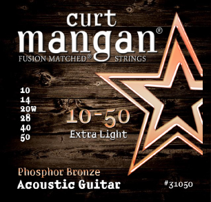 Curt Mangan Phosphor Bronze 31050 Acoustic Guitar Strings, Extra Light, 10-50