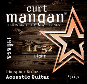 Curt Mangan Phosphor Bronze 31152 Acoustic Guitar Strings, Light, 11-52