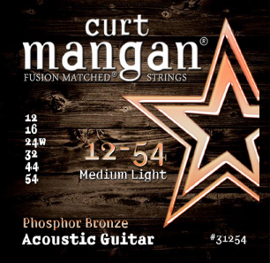 Curt Mangan Phosphor Bronze 31254 Acoustic Guitar Strings, Medium Light, 12-54