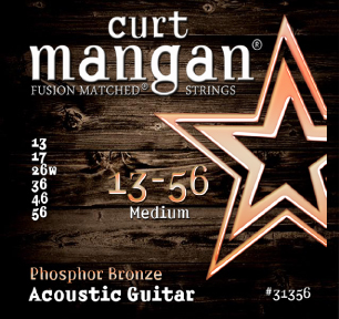 Curt Mangan Phosphor Bronze 31356 Acoustic Guitar Strings, Medium, 13-56