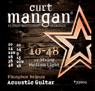 Curt Mangan Phosphor Bronze 39001 Acoustic Guitar Strings, 12-String, Medium Light, 10-48
