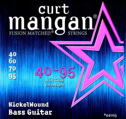 Curt Mangan Nickel Wound 44095 Bass Guitar Strings, Extra Light, 40-95