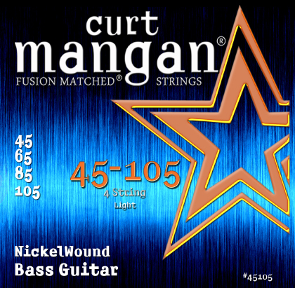 Curt Mangan Nickel Wound 45105 Bass Guitar Strings, Light, 45-105