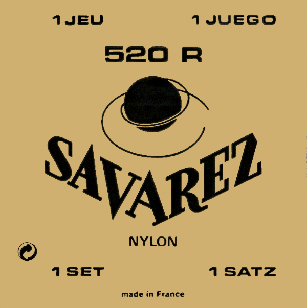Savarez Traditional 520R Classical Guitar Strings, Red Card, Nylon, Normal Tension, 0278-0421