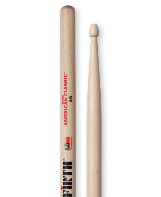 Vic Firth American Classic 5A Drumsticks, Hickory, Wood Tip
