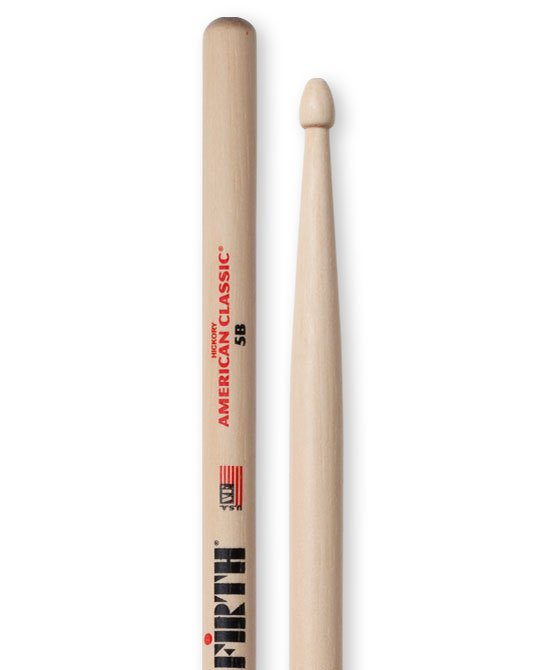 Vic Firth American Classic 5B Drumsticks, Hickory, Wood Tip