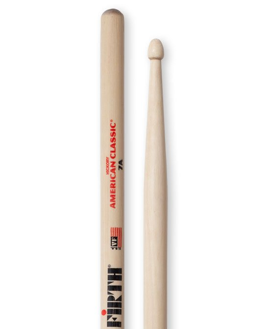 Vic Firth American Classic 7A Drumsticks, Hickory, Wood Tip