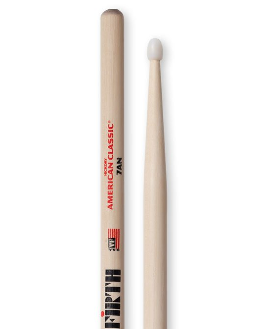 Vic Firth American Classic 7AN Drumsticks, Hickory, Nylon Tip