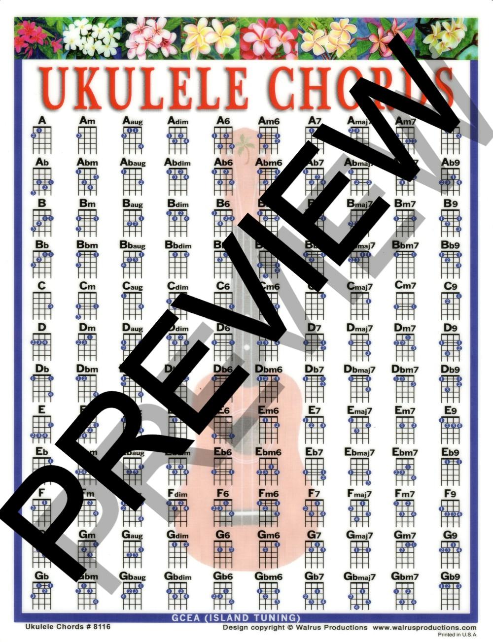 Walrus Productions 8116 Laminated Ukulele Chords Mini Chart, 8.5 x 11