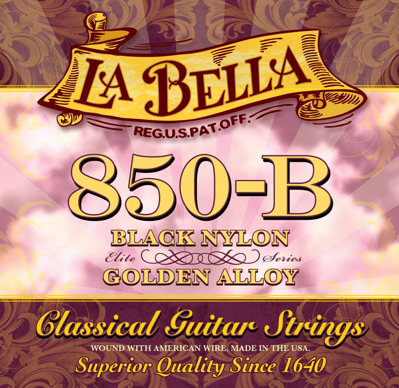 La Bella Elite 850B Classical Guitar Strings, Black Nylon/Gold Alloy, Medium Tension, 28-41