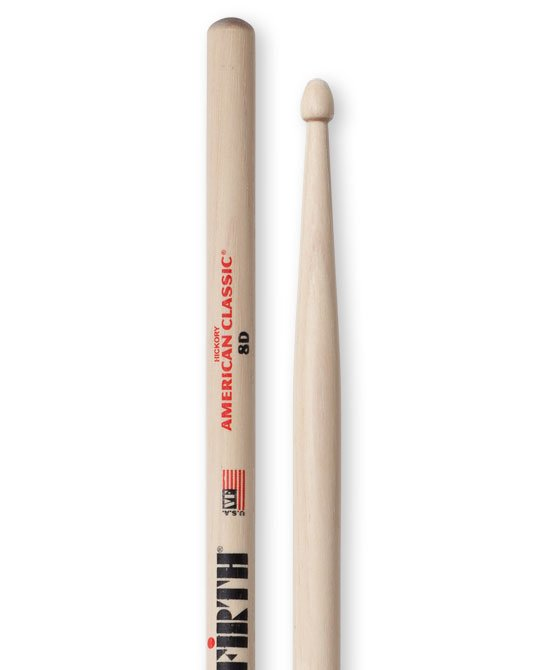 Vic Firth American Classic 8D Drumsticks, Hickory, Wood Tip