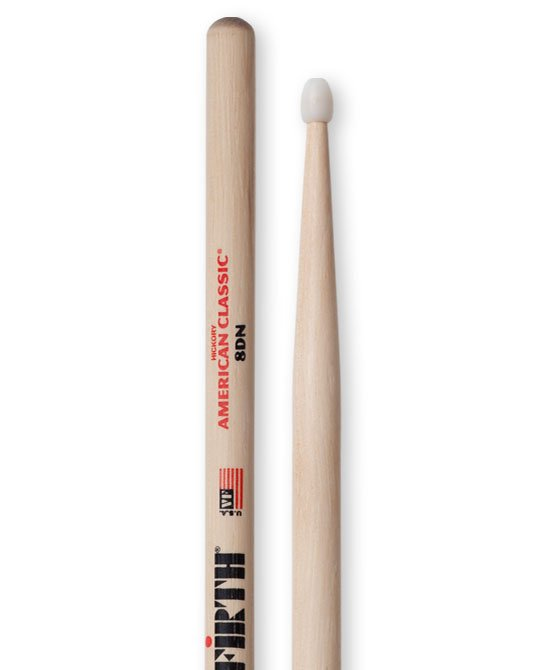 Vic Firth American Classic 8DN Drumsticks, Hickory, Nylon Tip