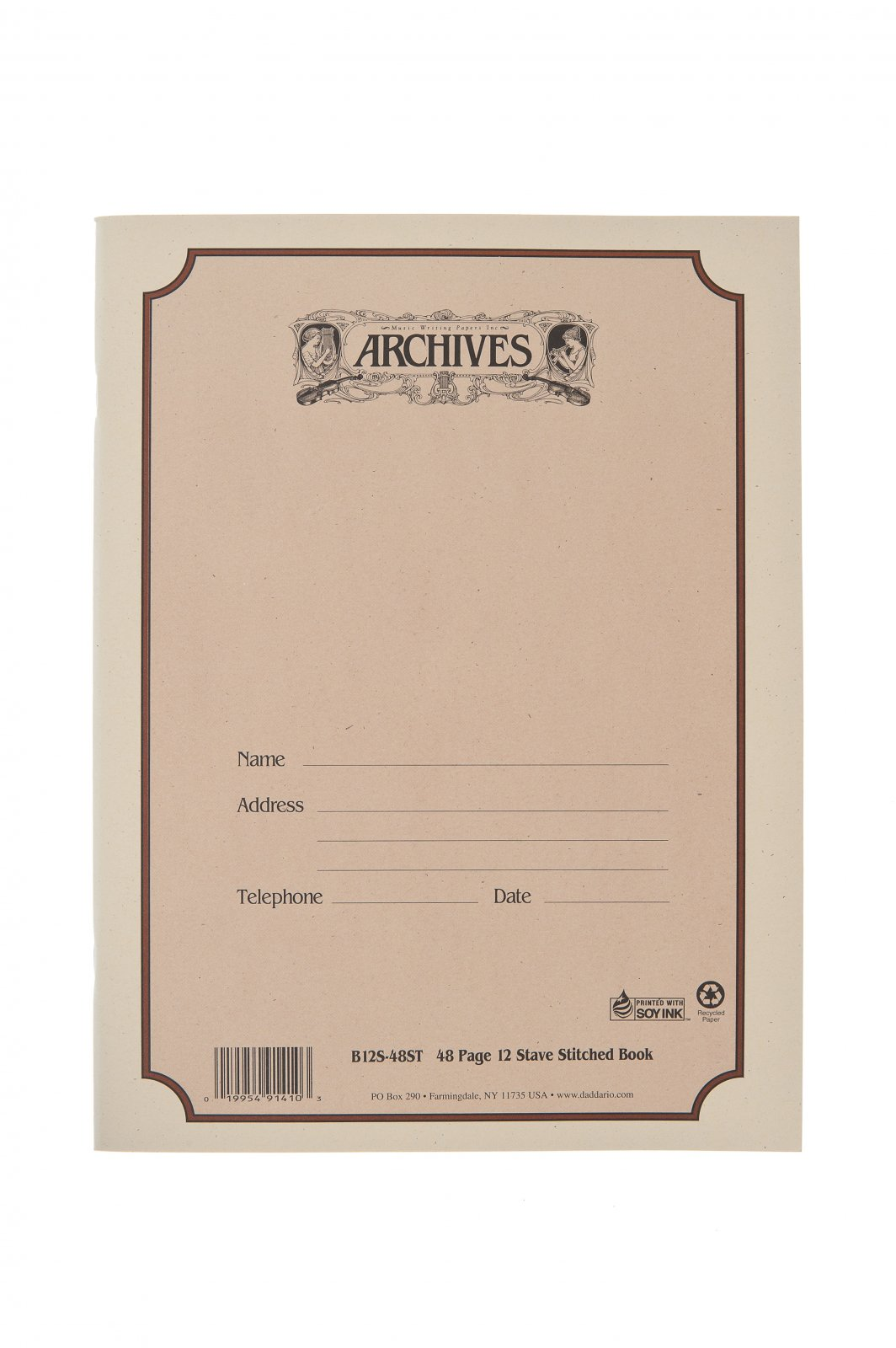 Archives Standard Bound Manuscript Paper Book, 12 Stave, 48 Pages