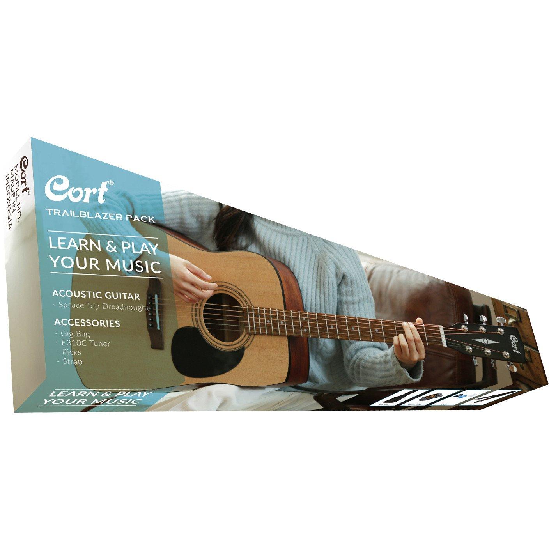 Cort Trailblazer Acoustic Guitar Starter Pack w/ Case, Strap, Picks, and Tuner