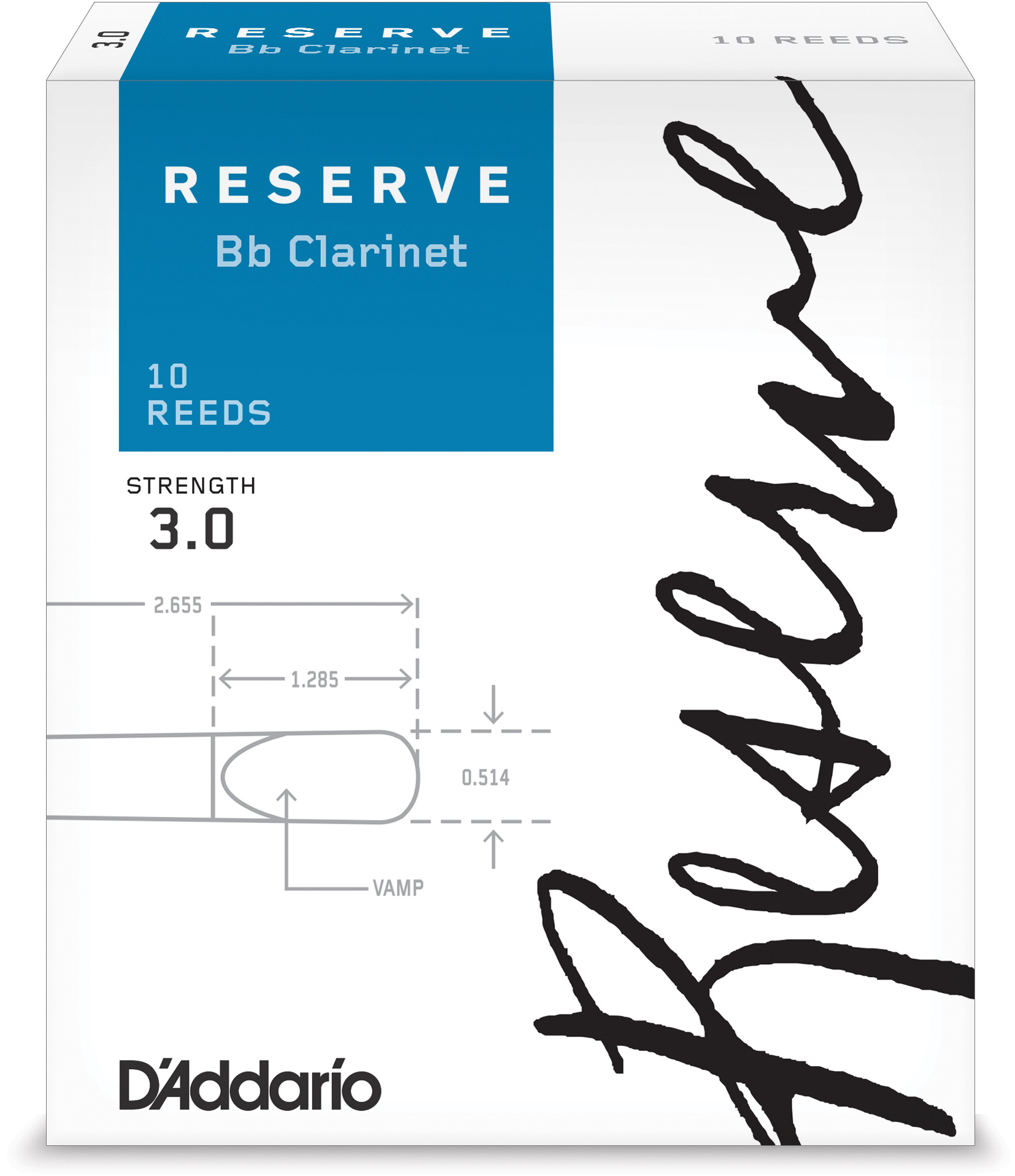 D'Addario Woodwinds Reserve Bb Clarinet Reeds, 10-Pack