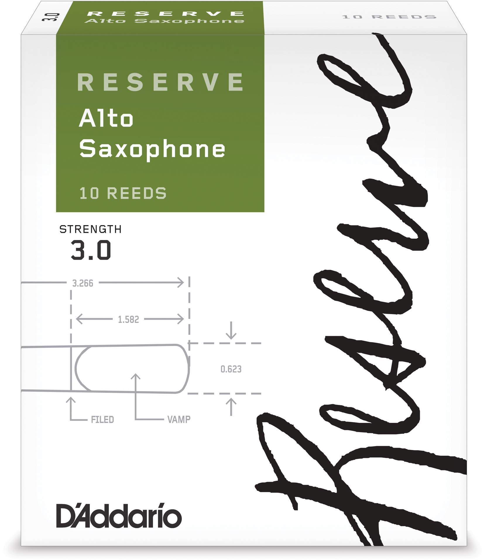 D'Addario Woodwinds Reserve Alto Saxophone Reeds, 10-Pack