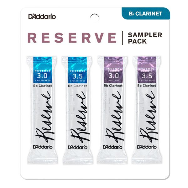 D'Addario Woodwinds Reserve Bb Clarinet Reed Sampler Pack, 4-Pack, Strengths #3.0/3.5