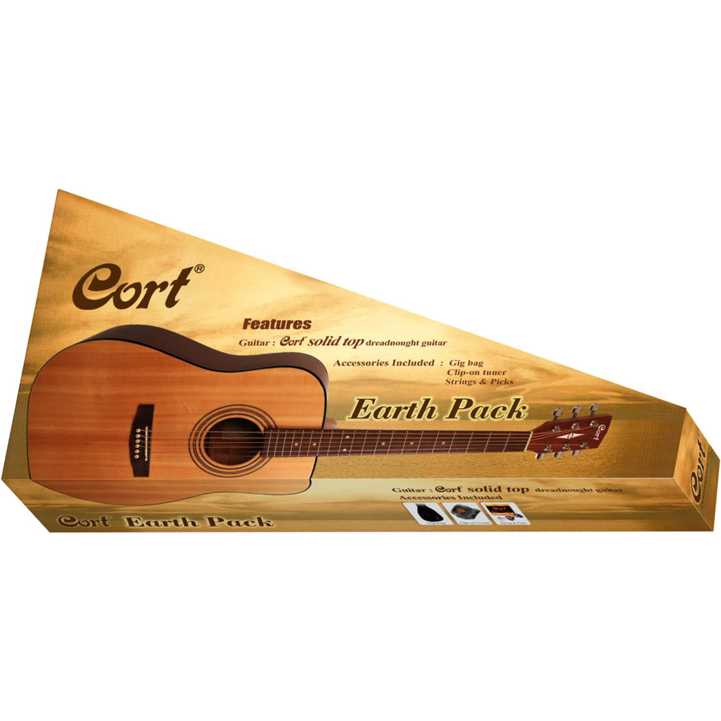 Cort Earth Pack Dreadnought Acoustic Guitar Package, Open Pore