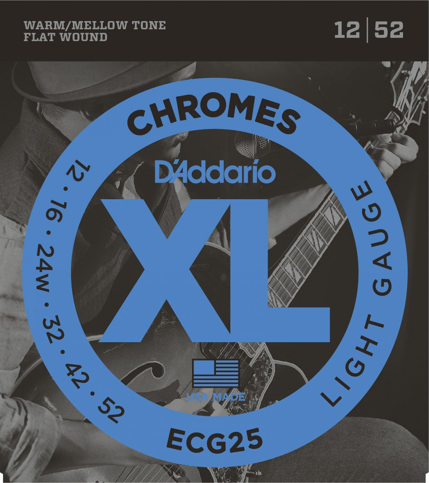D'Addario XL Chromes ECG25 Flat Wound Electric Guitar Strings, Light, 12-52
