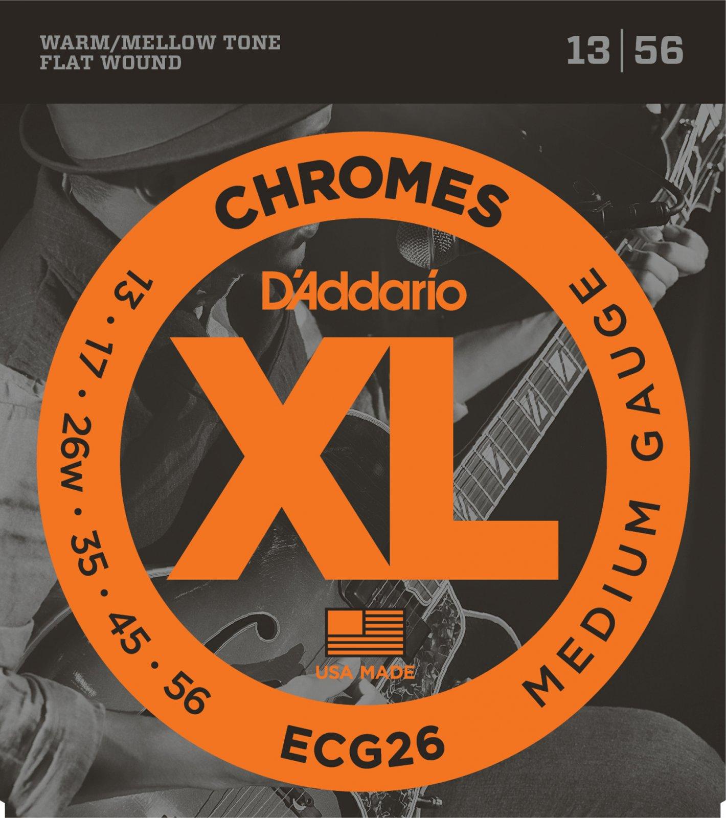 D'Addario XL Chromes ECG26 Flat Wound Electric Guitar Strings, Medium, 13-56