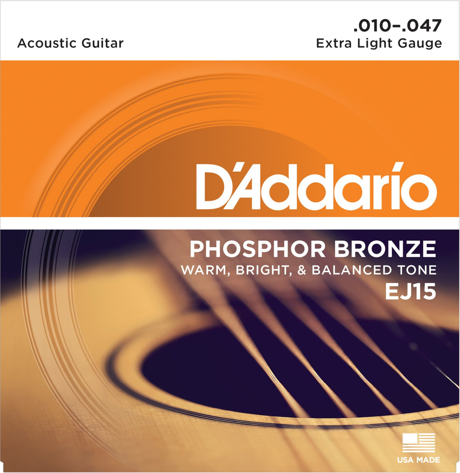 D'Addario Phosphor Bronze EJ15 Acoustic Guitar Strings, Extra Light, 10-47