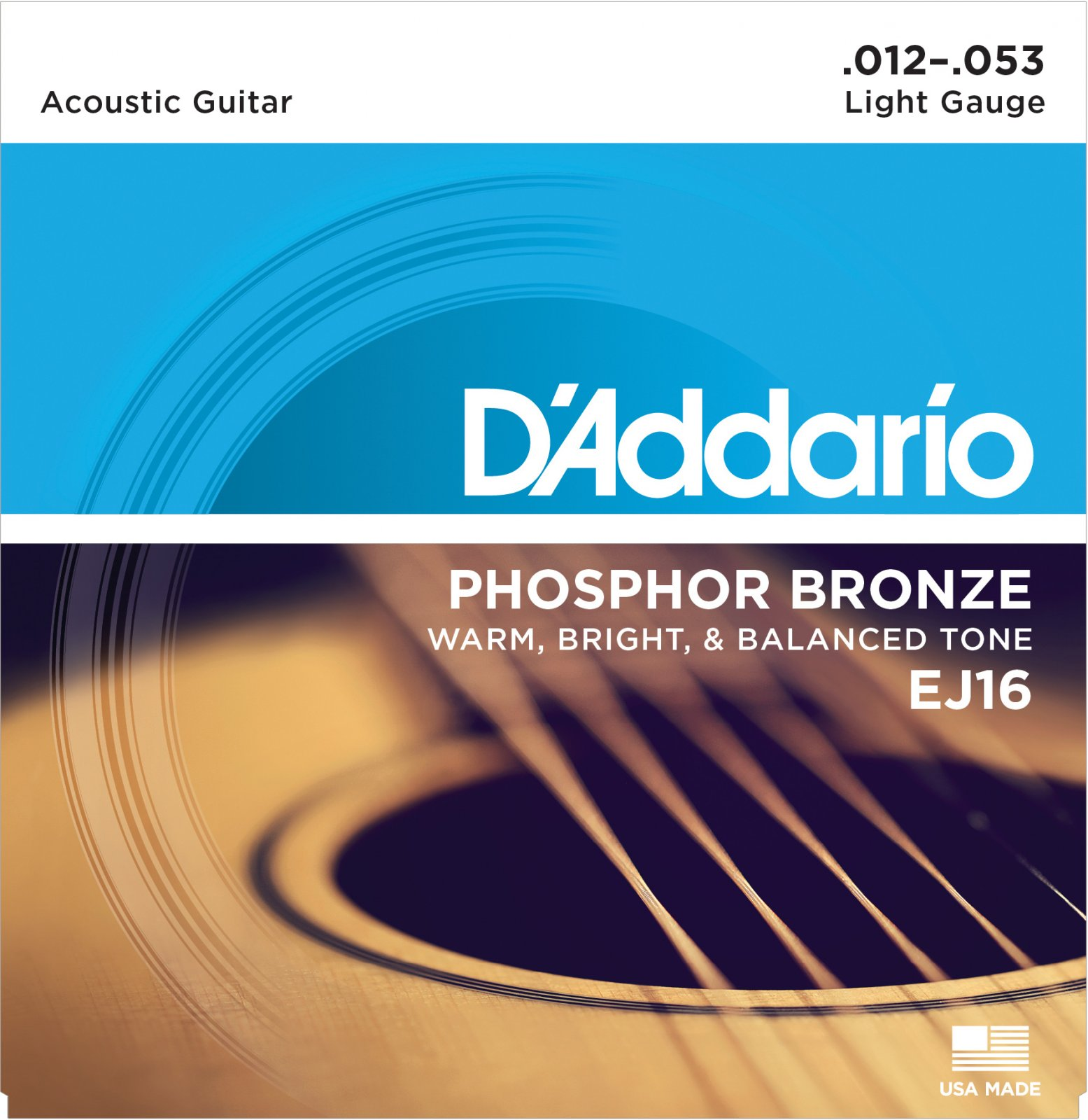 D'Addario Phosphor Bronze EJ16 Acoustic Guitar Strings, Light, 12-53