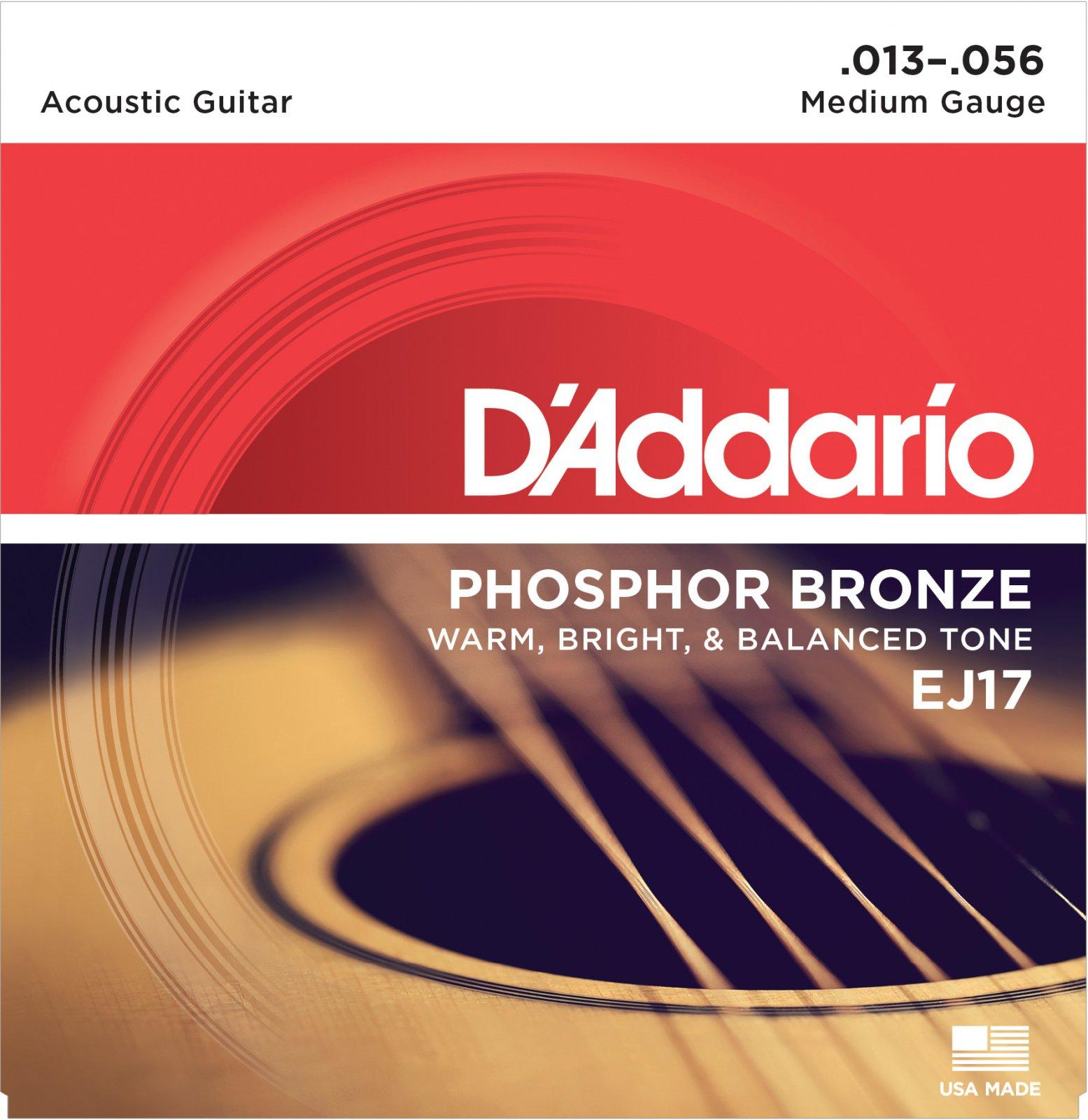 D'Addario Phosphor Bronze EJ17 Acoustic Guitar Strings, Medium, 13-56