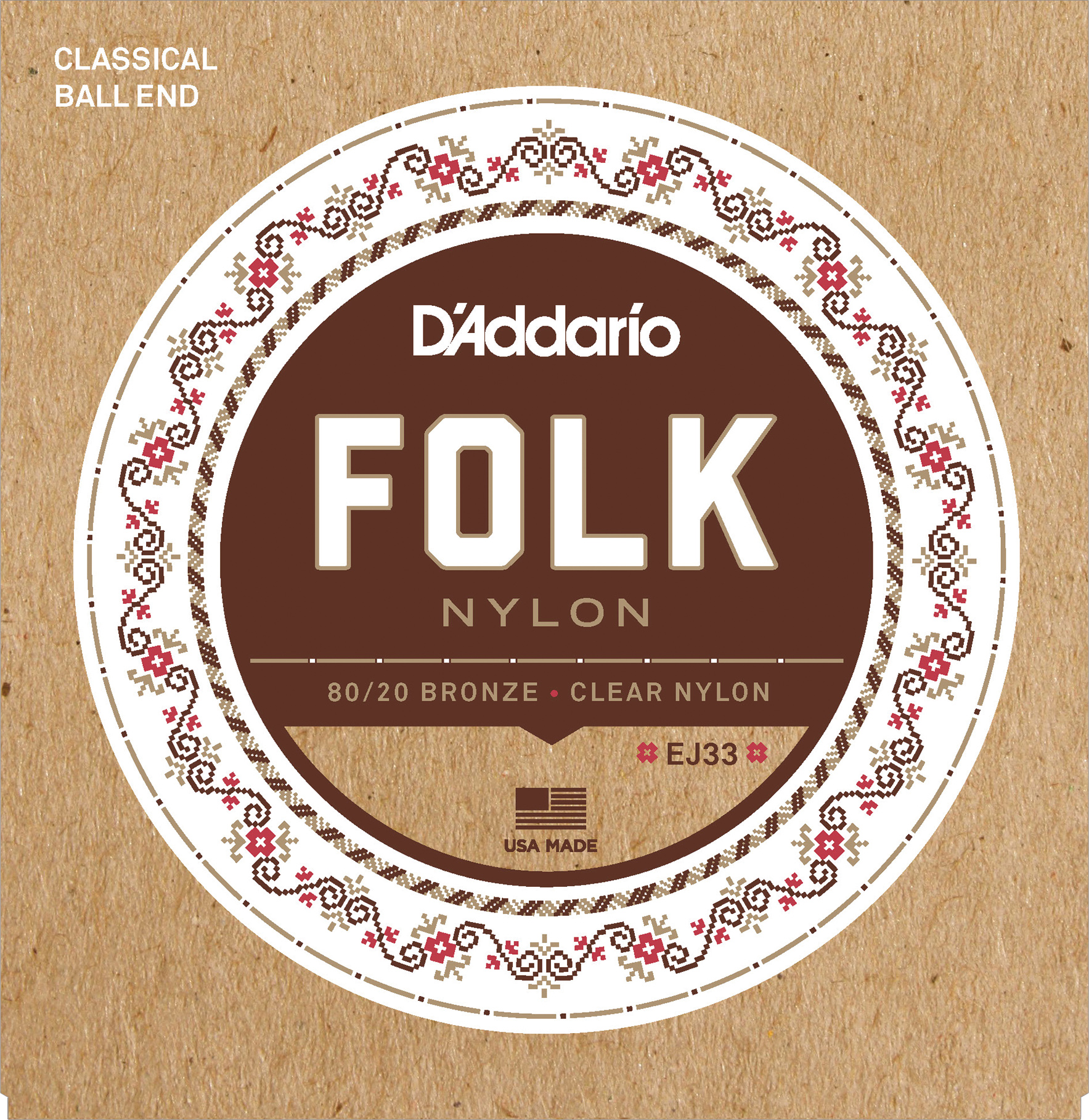 D'Addario Folk Nylon EJ33 Classical Guitar Strings, Ball End, 80/20 Bronze, Clear Nylon Trebles