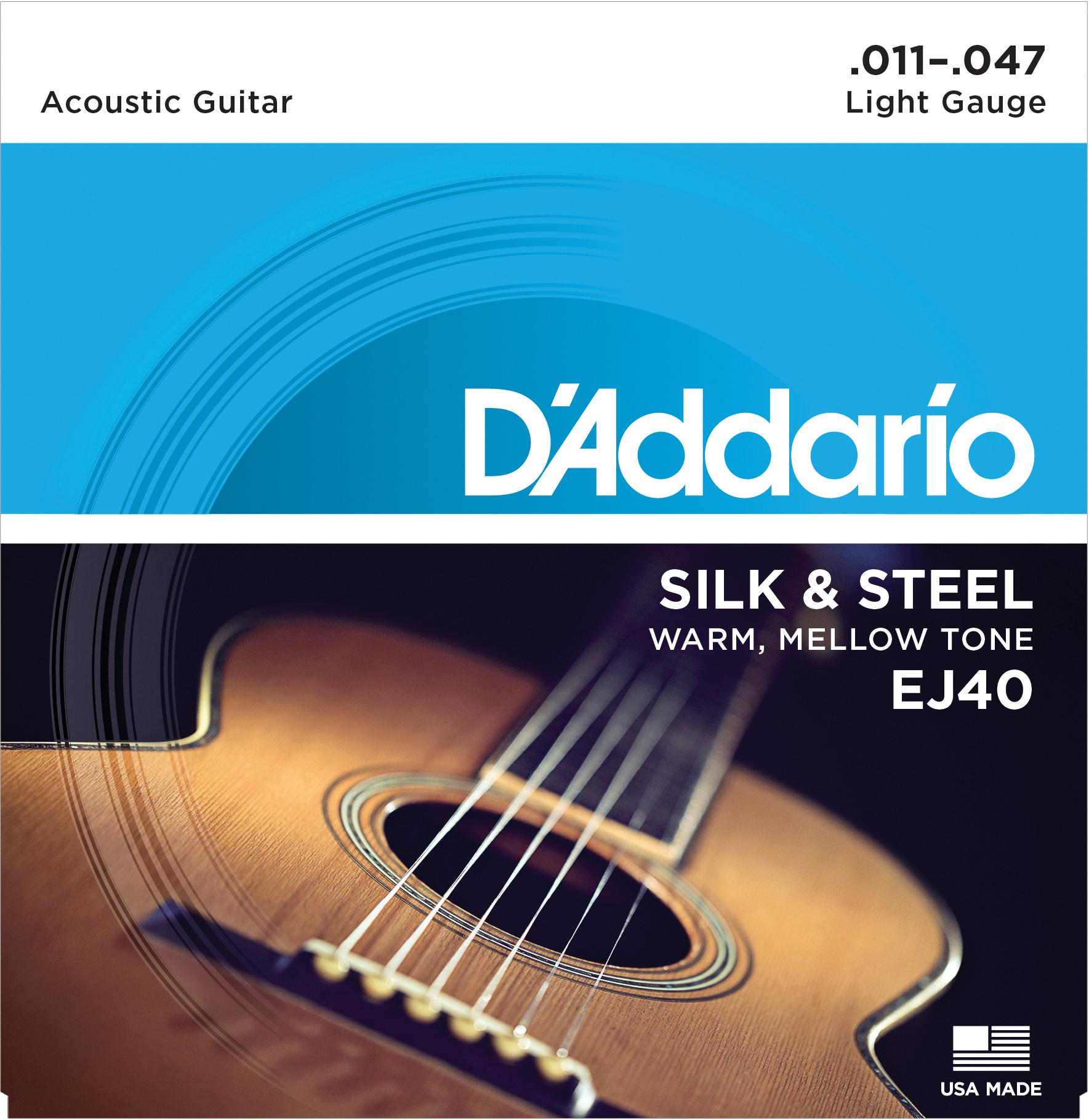 D'Addario Silk & Steel Folk EJ40 Acoustic Guitar Strings, Light, 11-47