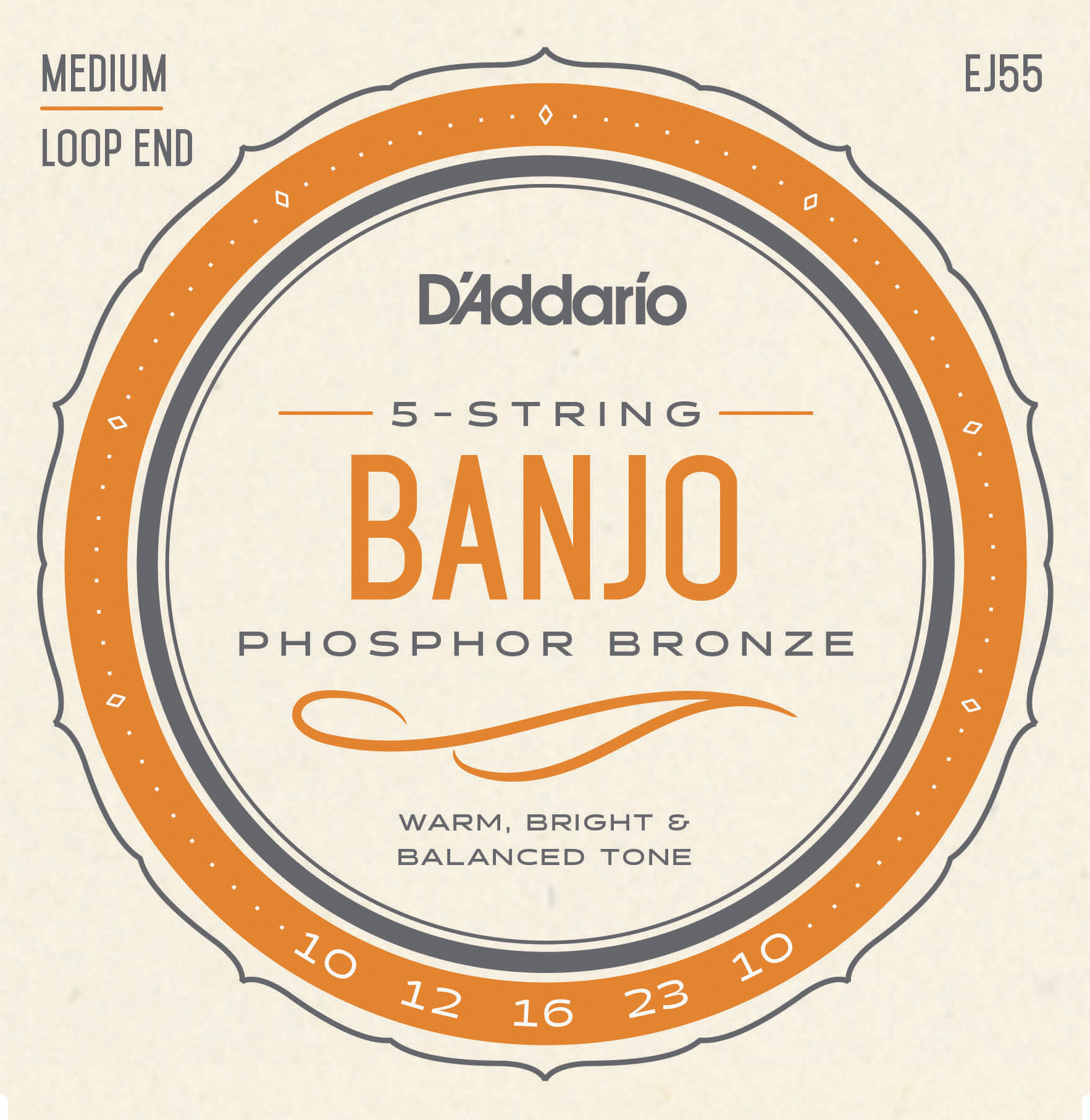 D'Addario Phosphor Bronze EJ55 Banjo Strings, 5-String, Medium, 10-23