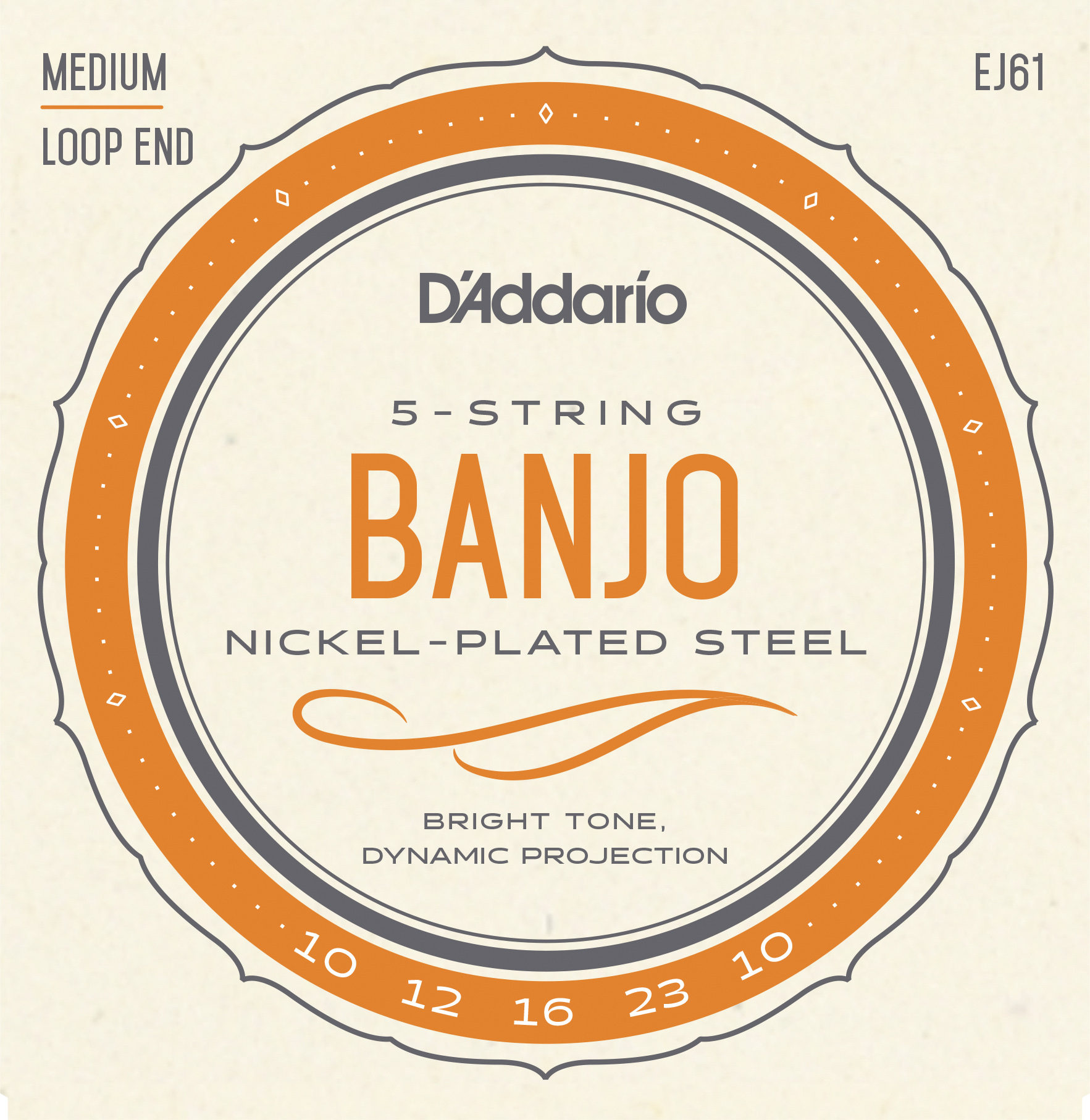 D'Addario Nickel EJ61 Banjo Strings, 5-String, Medium, 10-23