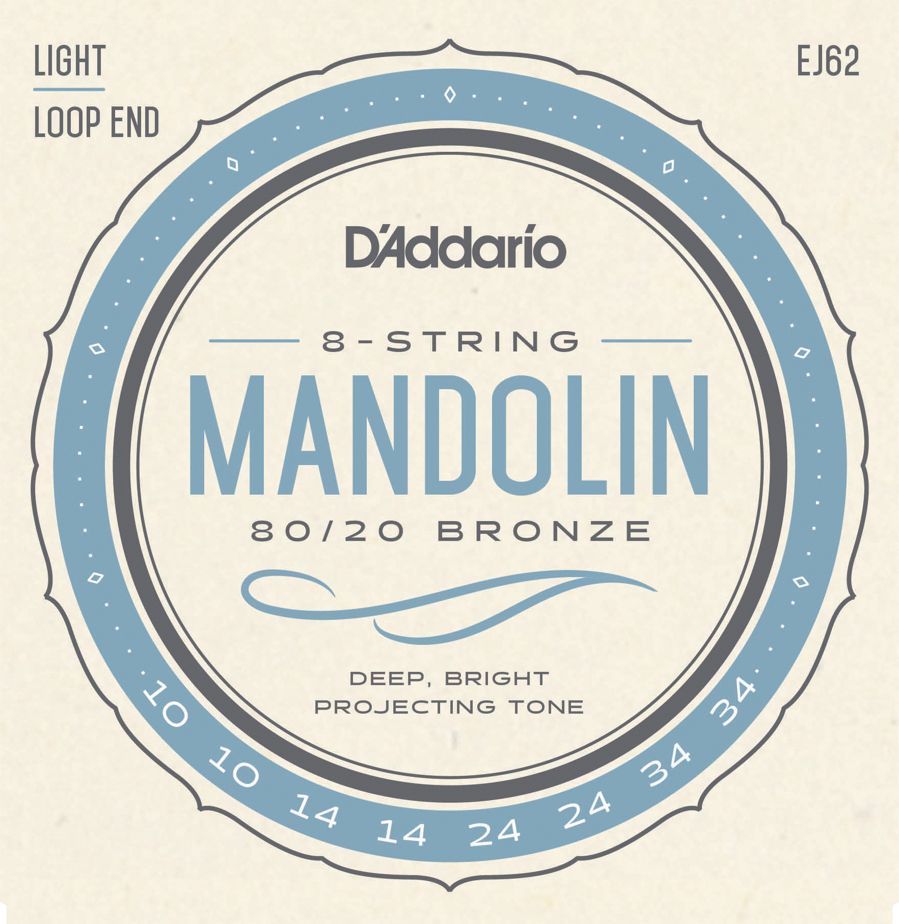 D'Addario 80/20 Bronze EJ62 Mandolin Strings, Light, 10-34