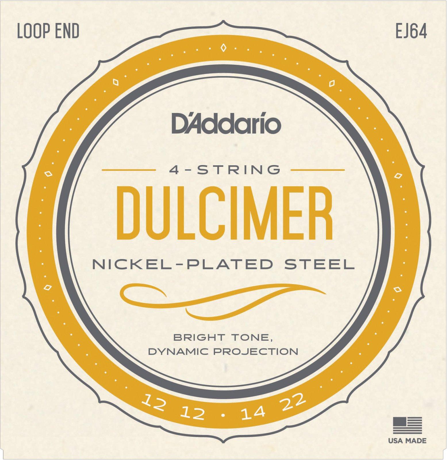 D'Addario Nickel EJ64 Dulcimer Strings, 4-String, 12-22