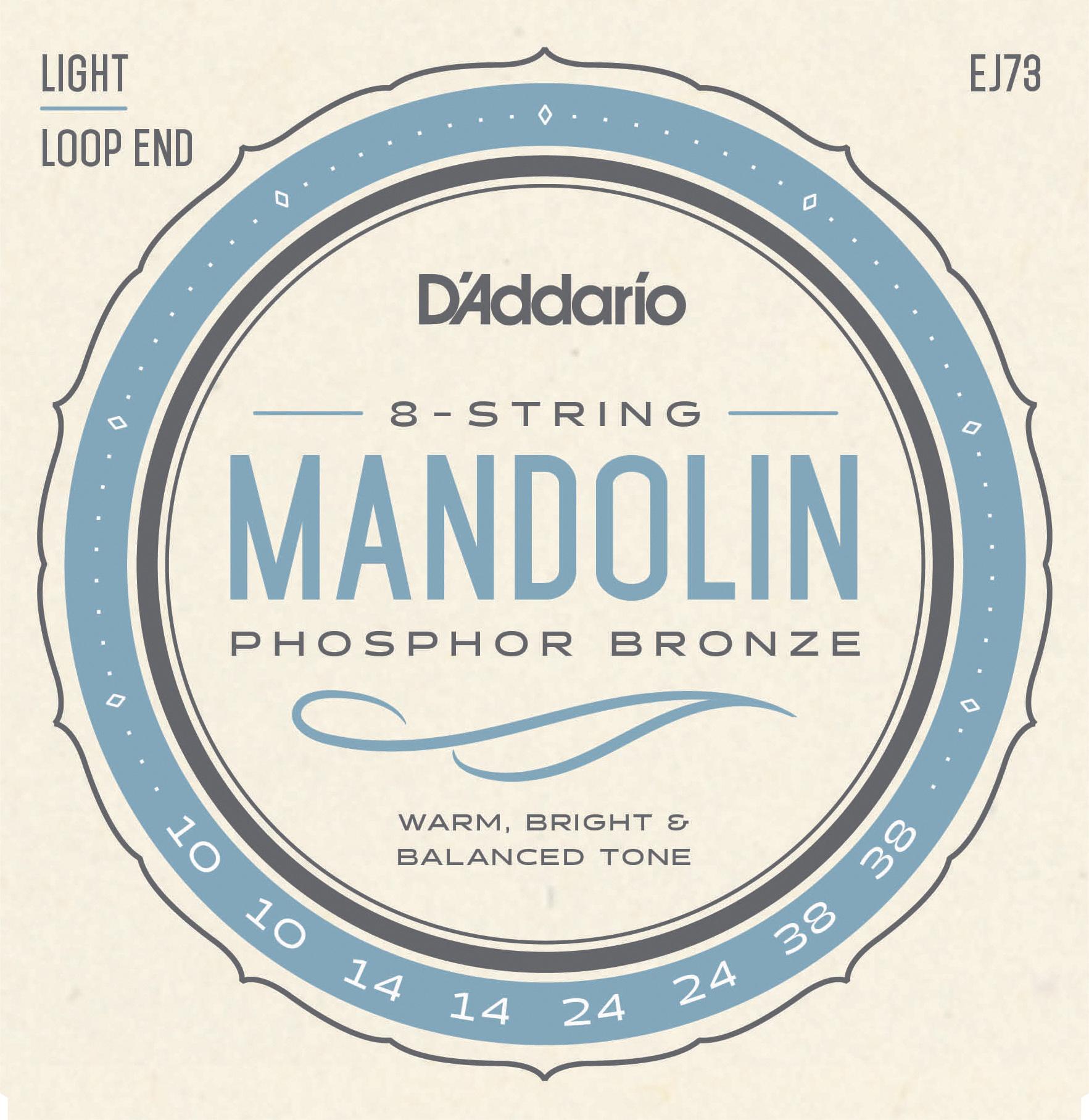 D'Addario Phosphor Bronze EJ73 Mandolin Strings, Light, 10-38