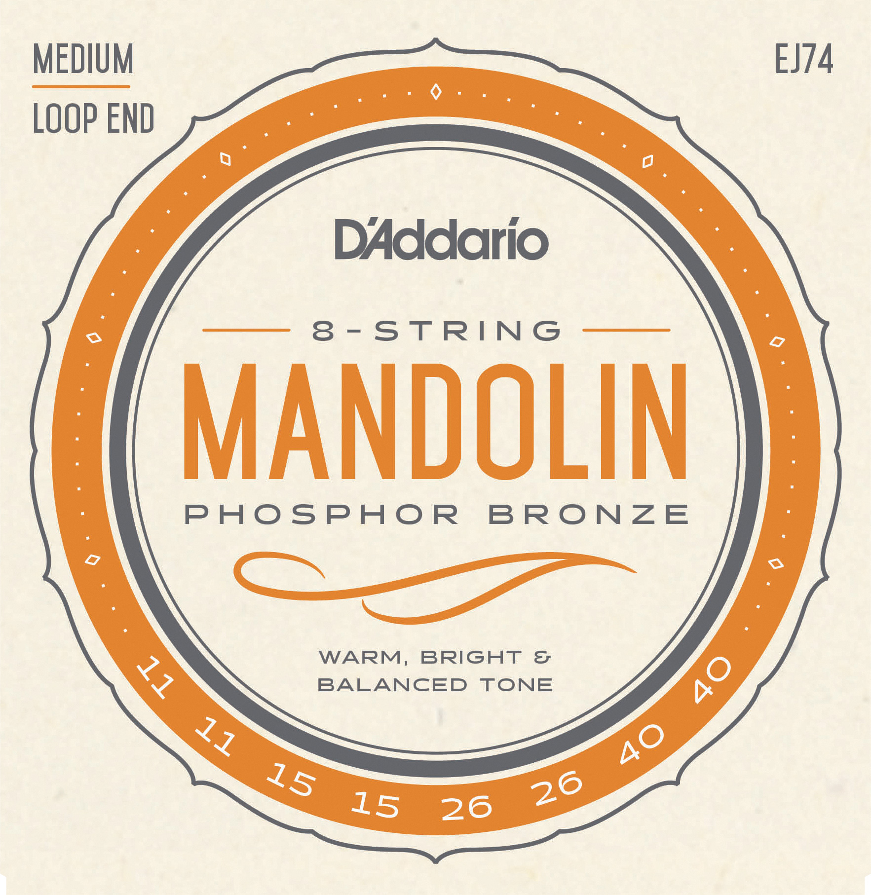 D'Addario Phosphor Bronze EJ74 Mandolin Strings, Medium, 11-40