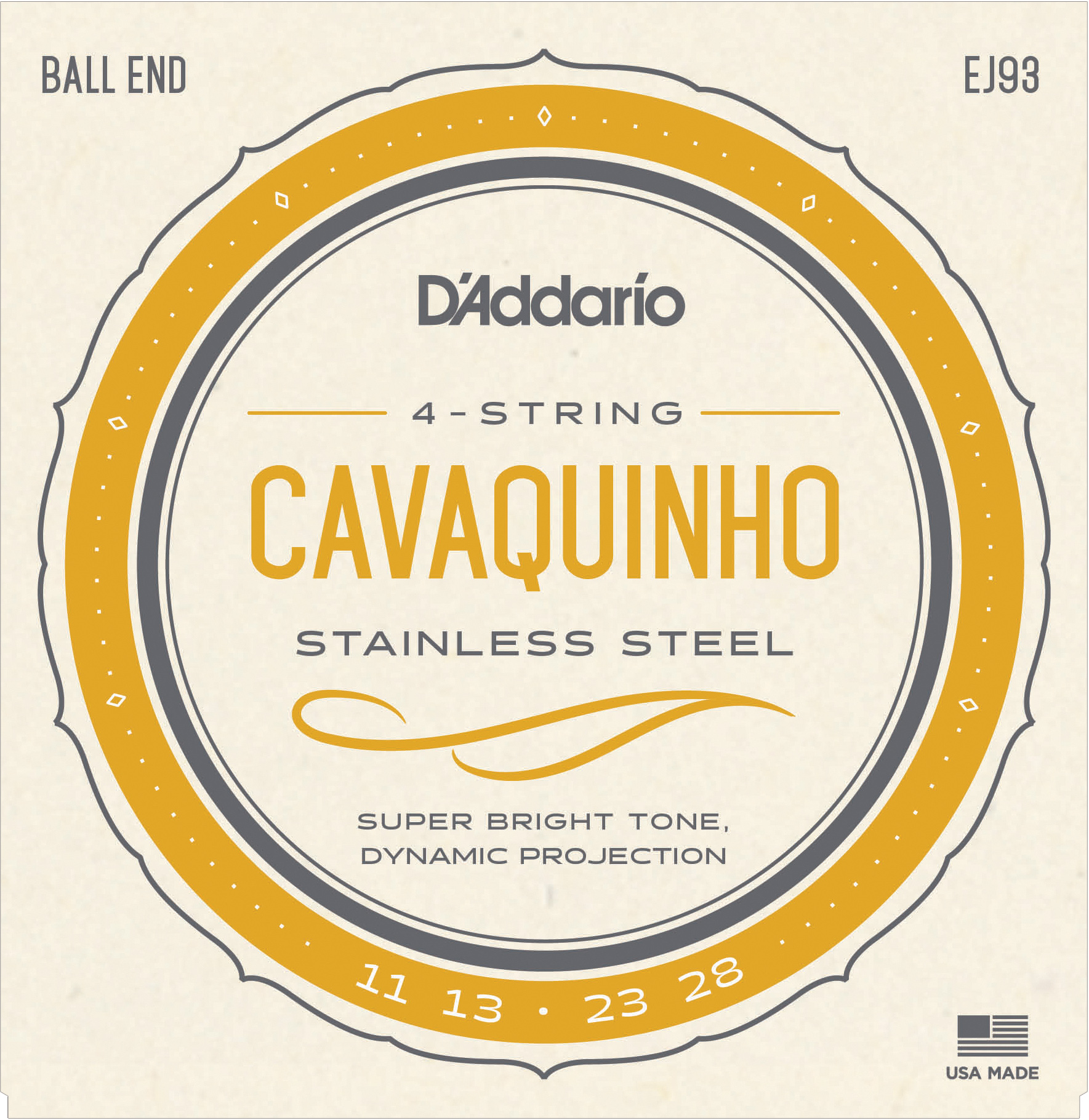 D'Addario Stainless Steel Wound EJ93 Cavaquinho Strings, Ball End, 11-28