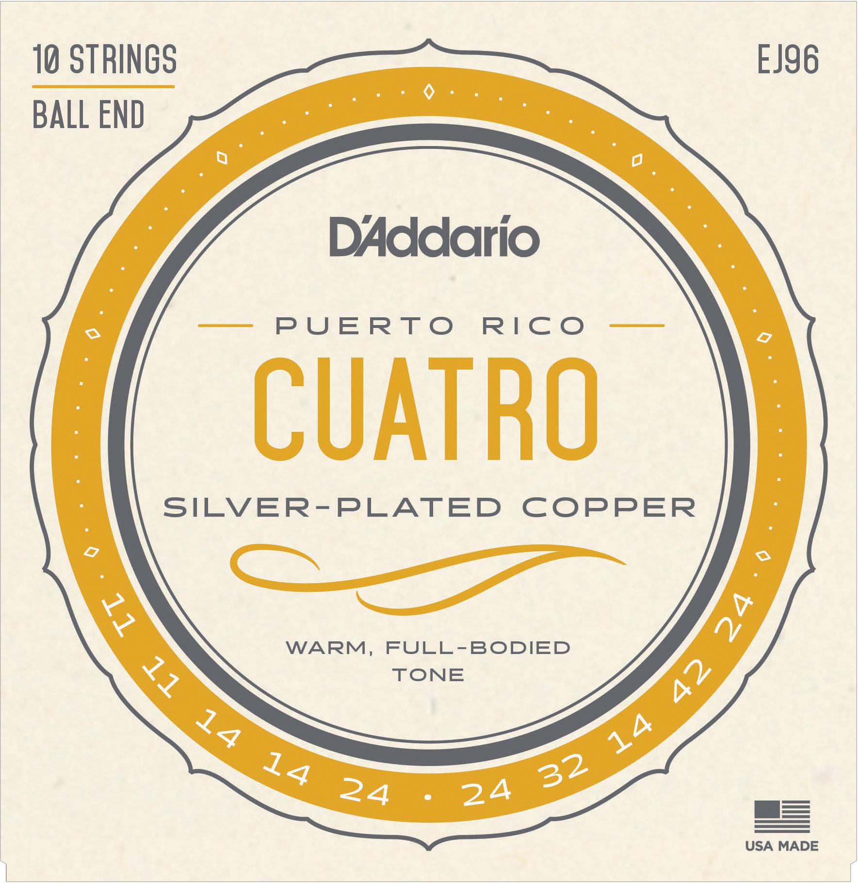 D'Addario Silver Plated Copper EJ96 Cuatro-Puerto Rico Strings
