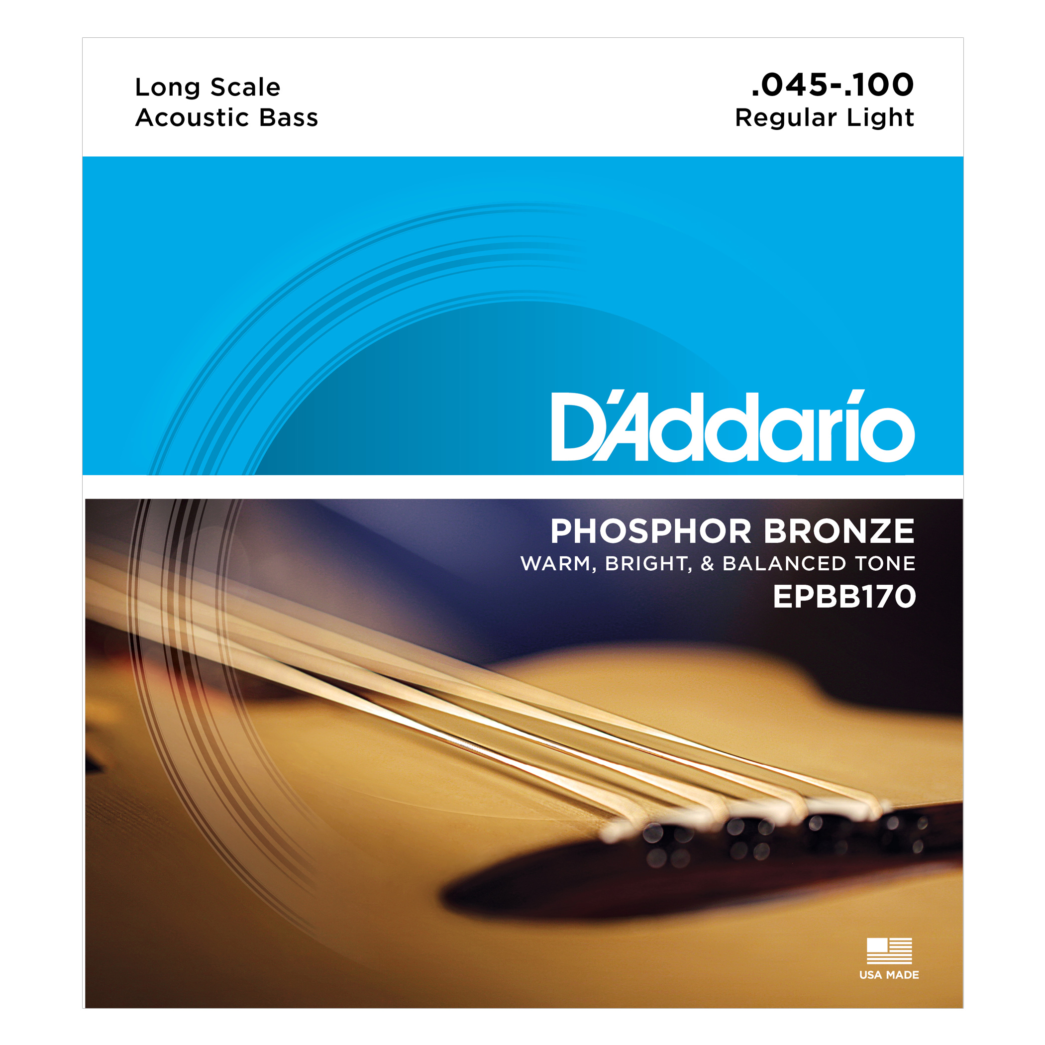 D'Addario Phosphor Bronze EPBB170 Acoustic Bass Strings, Long Scale, 45-100